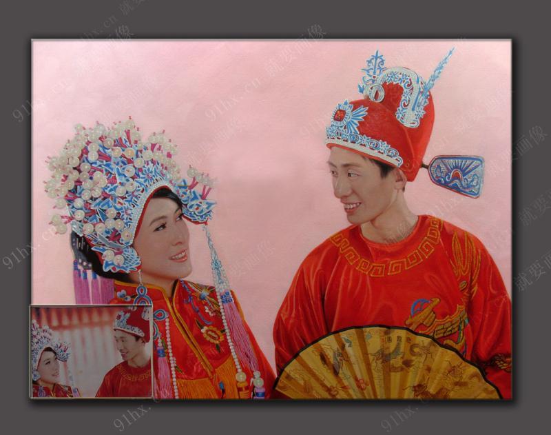 中式婚纱油画