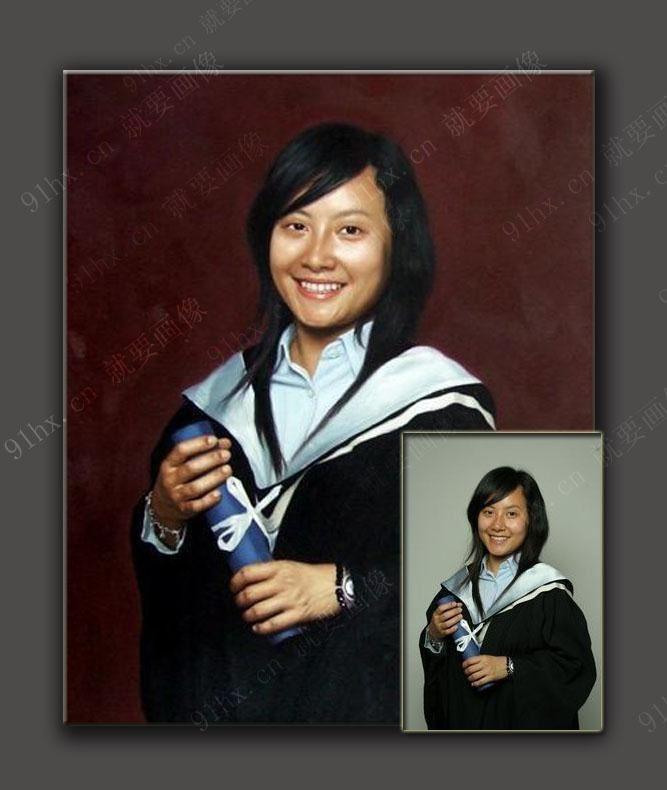 精细化高档手绘美女肖像油画,美女照片变油画